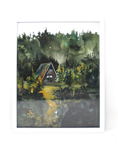 Cozy Cabin Print 11x14 Adventure Print Home Decor Cabin Watercolor Inspirational Wall Art
