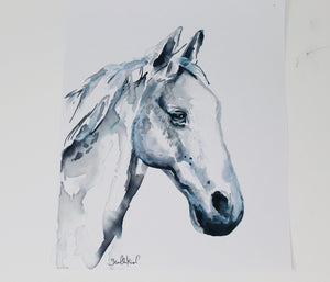 Horse Print, Watercolor Horse Painting, 11x14in Simple Horse Print, Nursery, Home Decor, Minimal Art