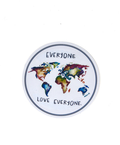 Everyone Love Everyone Sticker/Decal, Weather Resistent, Durable, Vinyl Sticker, World Map, Watercolor