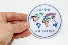 Load image into Gallery viewer, Everyone Love Everyone Sticker/Decal, Weather Resistent, Durable, Vinyl Sticker, World Map, Watercolor