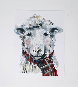 Christmas Collection- Christmas Sheep, Home Decor, 11x14 Print, Holiday Art Print