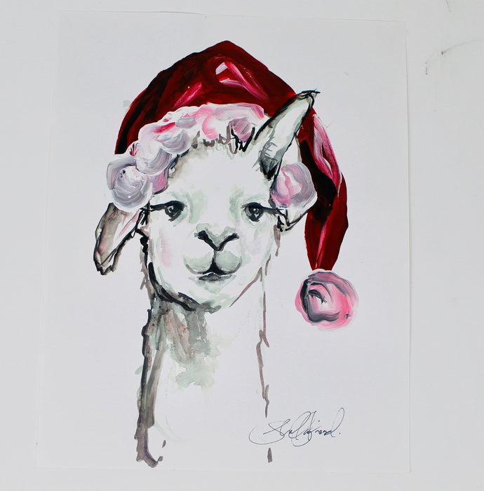 Christmas Collection- Christmas Llama , 11x14in Print, Christmas Decorations, Holiday Decor