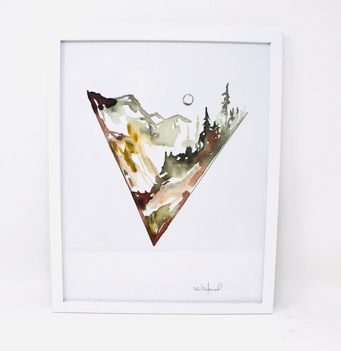 Minimal Triangle Mountain Watercolor, 11x14 Art Print, Simple Adventure Art, Mountians Painting