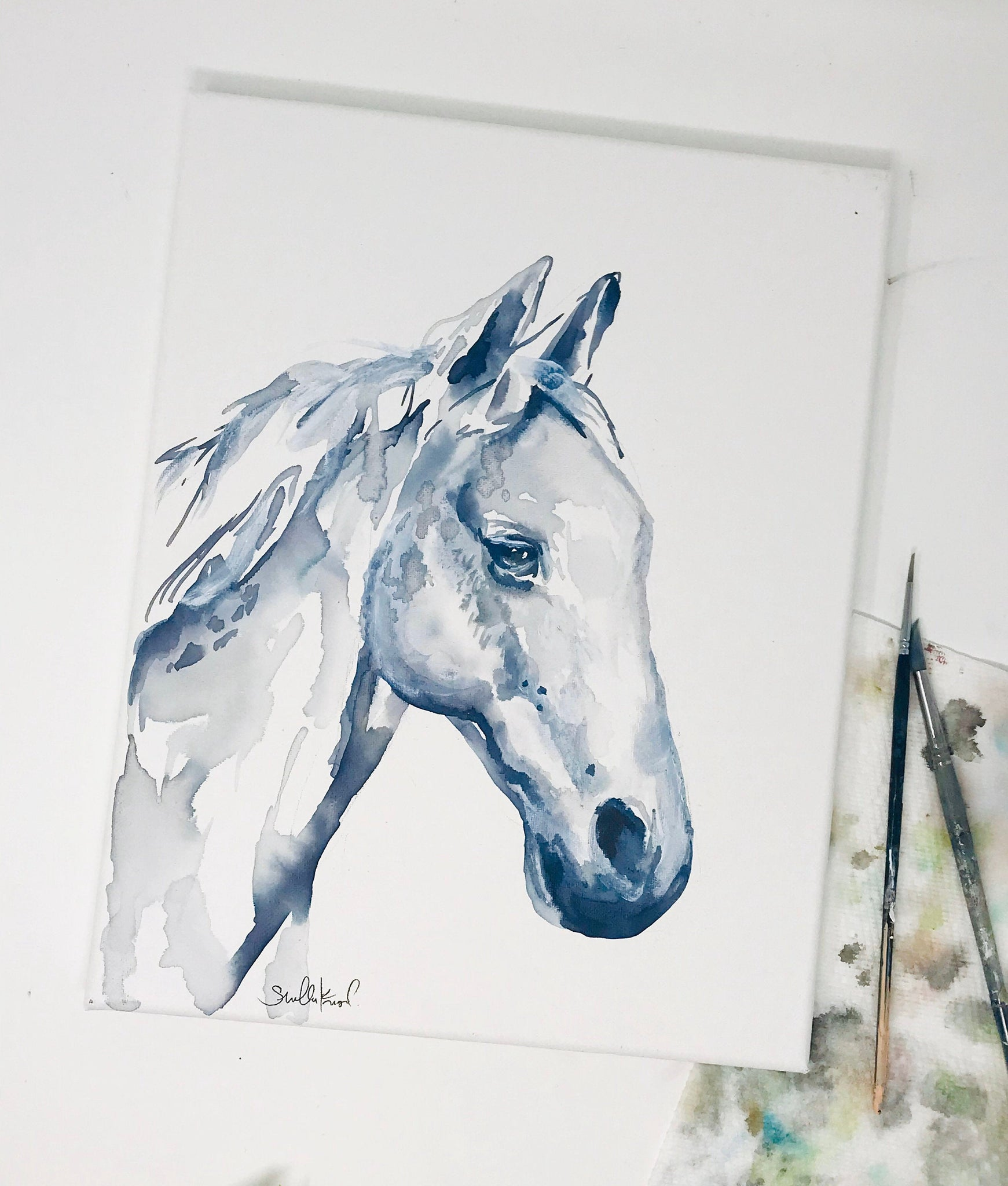 Horse Print Watercolor Horse Painting 11x14in Simple Horse Print Nu Shelby Kregel Art And Design