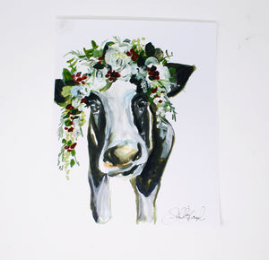 Christmas Collection- Cow, 11x14 Print, Watercolor, Home Decor