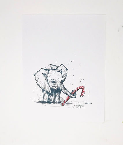 Christmas Collection- Baby Elephant, 11x14 Print, Christmas Decorations