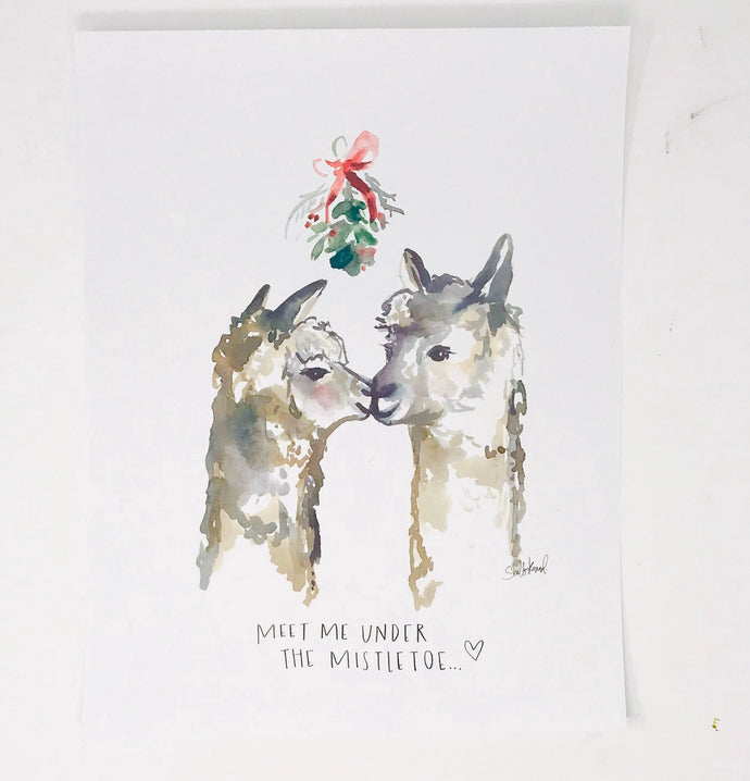 Christmas Collection- Mistletoe Kissing Llamas, 11x14 Art Print