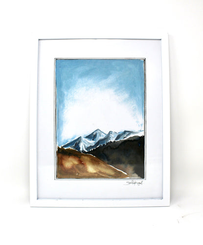 Simple Mountains, 11x14 Art Print, Mountains Watercolor, Adventure Painting
