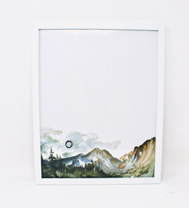 You Add The Words, Or Leave Simple Mountains, 11x14 Art Print, Watercolor Mountians