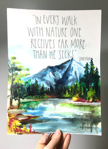 John Muir Art Print 8x10, Adventure Art, Home Decor, Outdoorsy Print, Quote Art