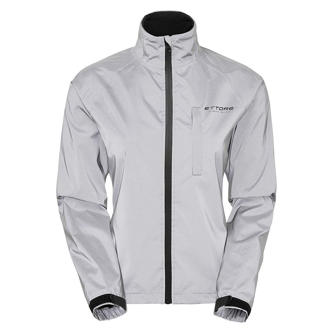 Ettore Night Glow Ladies Waterproof Breathable High Visibility Reflective Silver Cycling Jacket