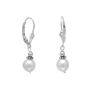 White  Freshwater Pearl with Bali Bead Lever Earrings