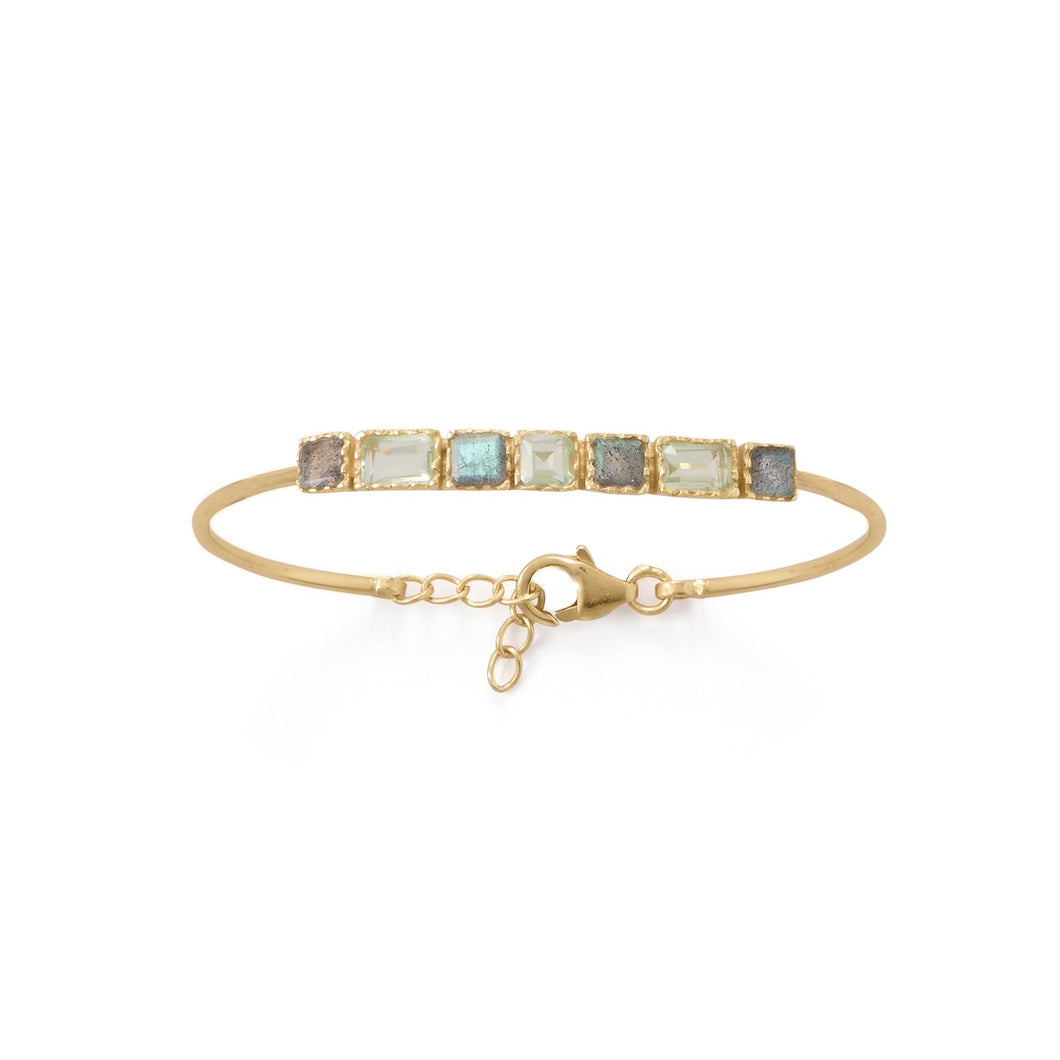 14-Karat Gold Plated Labradorite and Prasiolite Bracelet