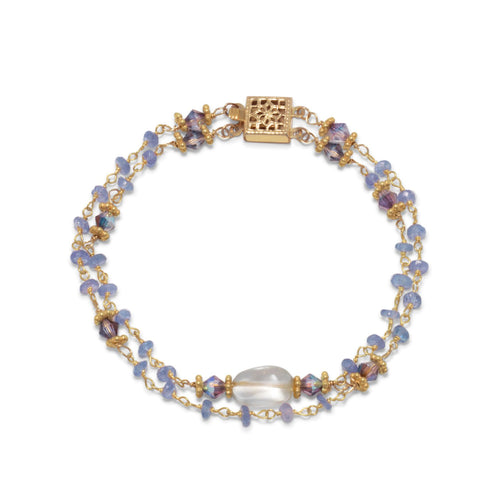 14-Karat Gold Plated Double Strand Tanzanite and Citrine Bracelet