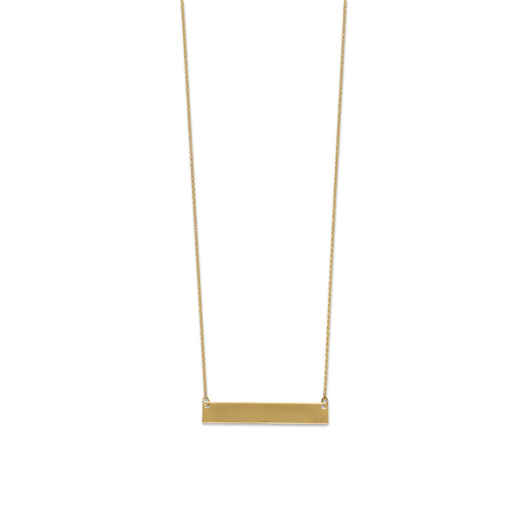 14-Karat Gold Plated Engravable Bar Necklace