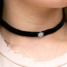 Load image into Gallery viewer, CZ Star Black Velvet Choker Necklace