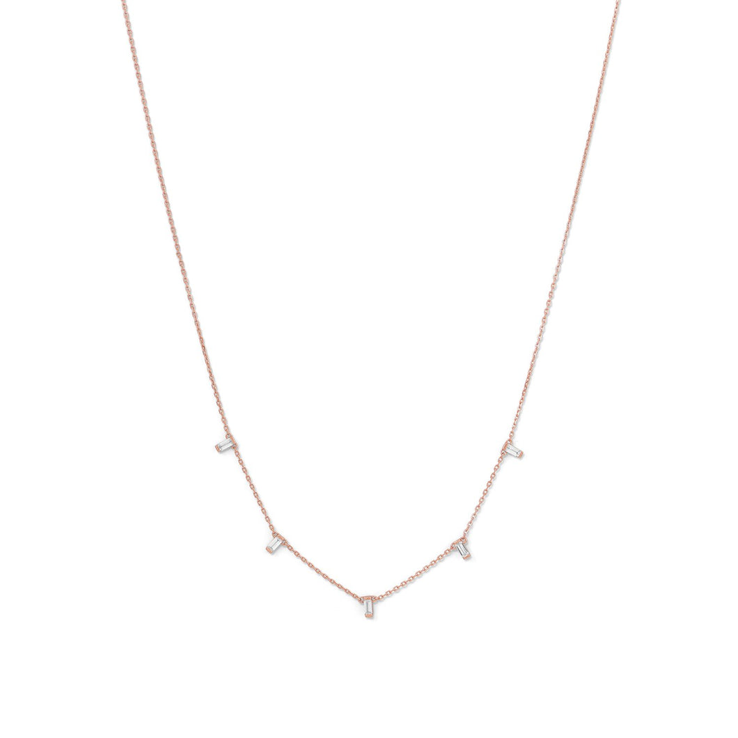 14-Karat Rose Gold Plated Dangling CZ Necklace