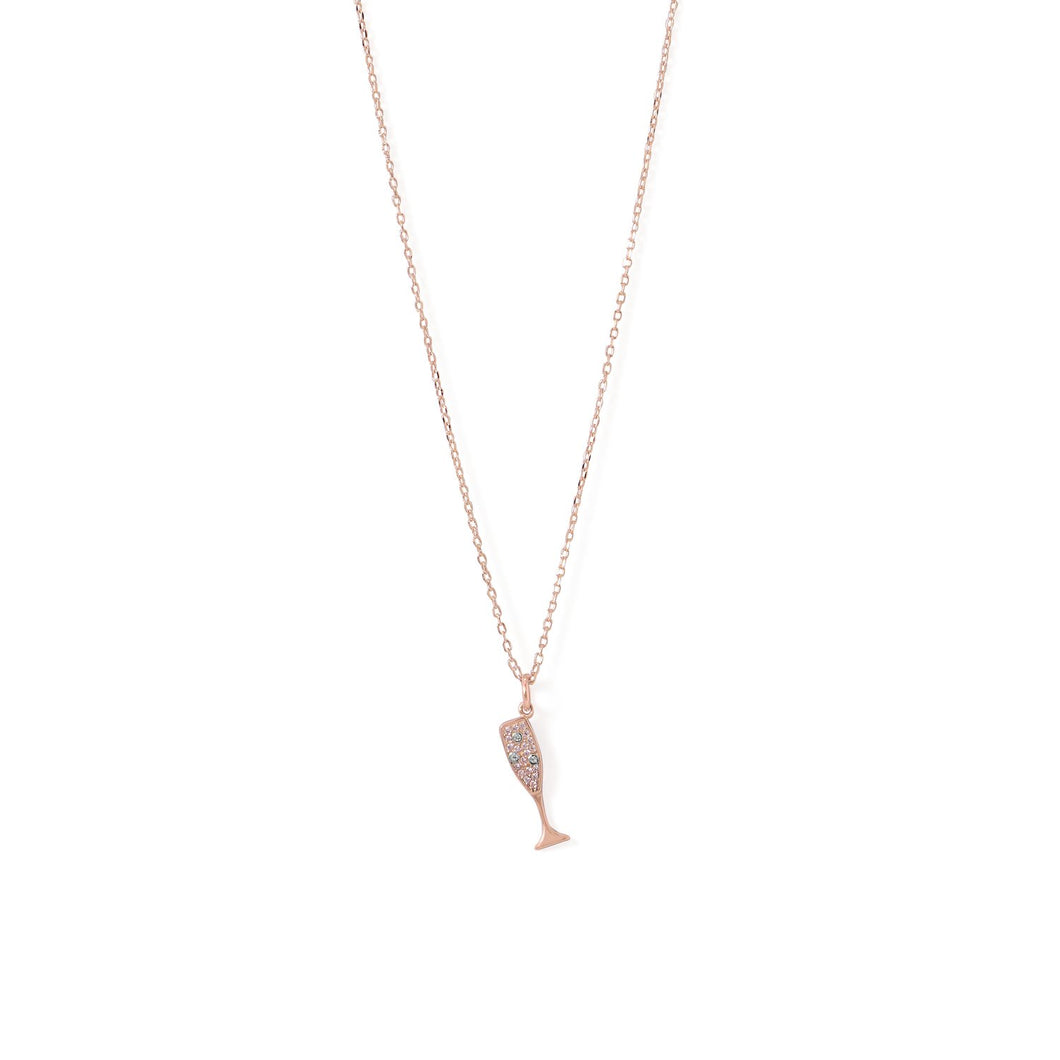 14-Karat Rose Gold Plated CZ Champagne Glass Charm Necklace