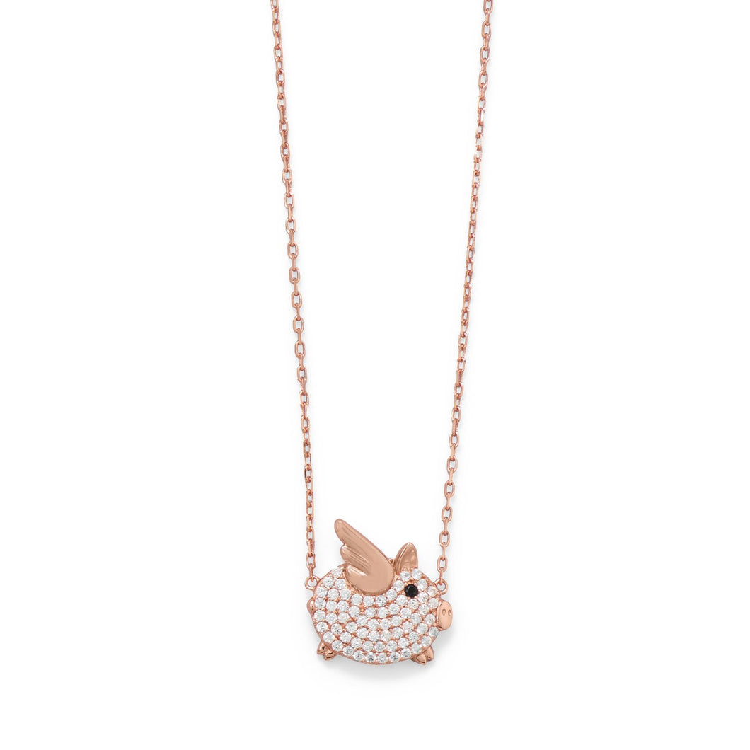 CZ Flying Piggy Necklace