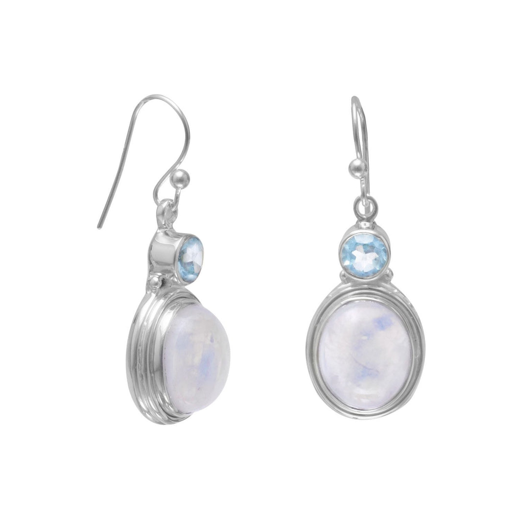 Blue Topaz and Moonstone Earrings