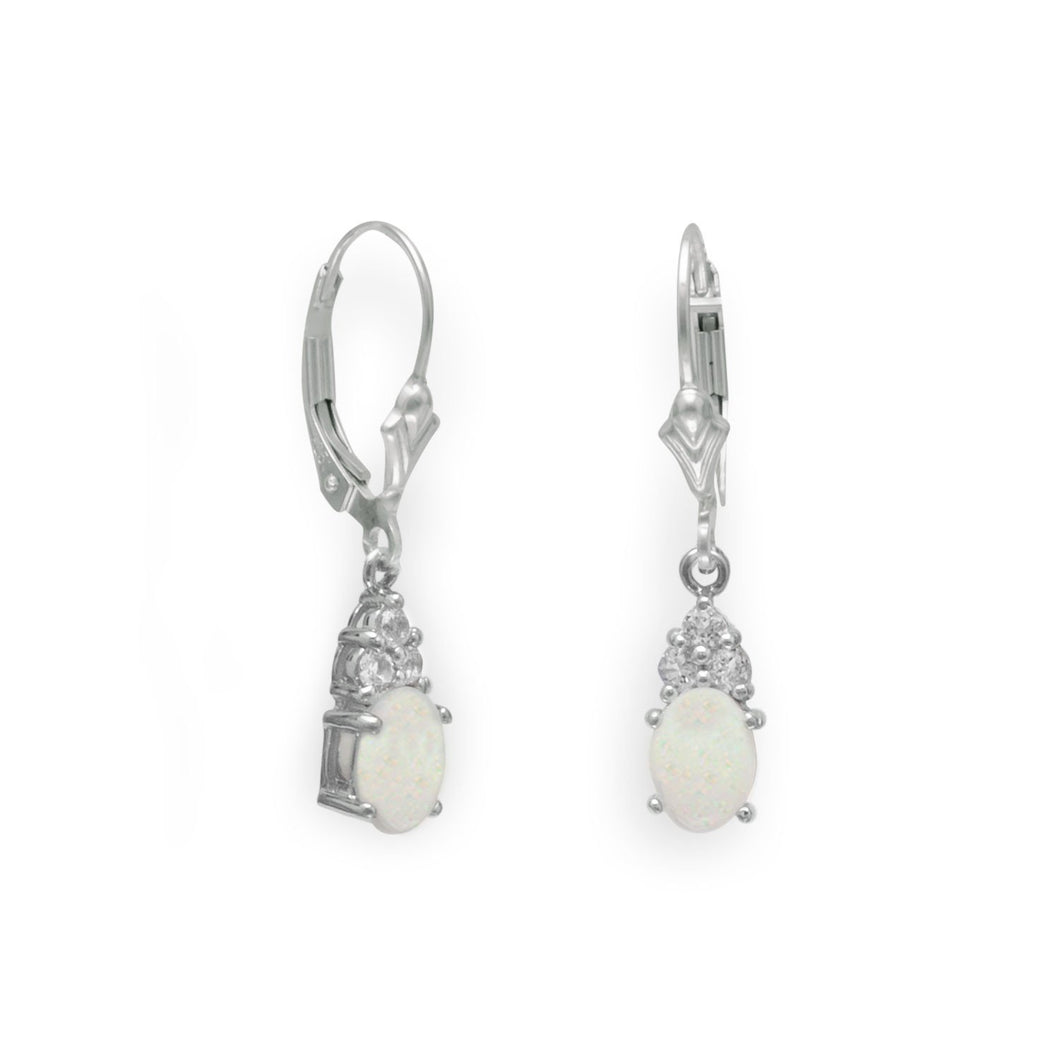 Australian Opal and White Topaz Earrings