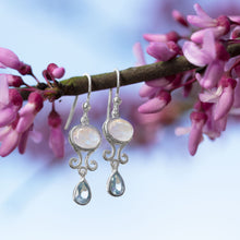 Load image into Gallery viewer, Rainbow Moonstone and Blue Topaz Drop Earrings
