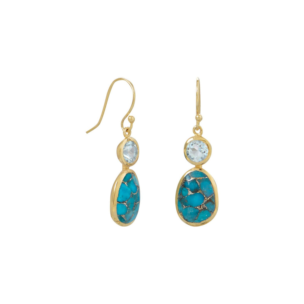 14-Karat Gold Plated Turquoise and Sky Blue Topaz Earrings