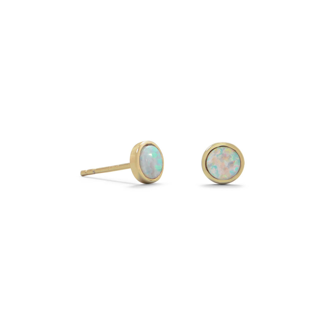 14-Karat Gold Plated  White Opal Studs