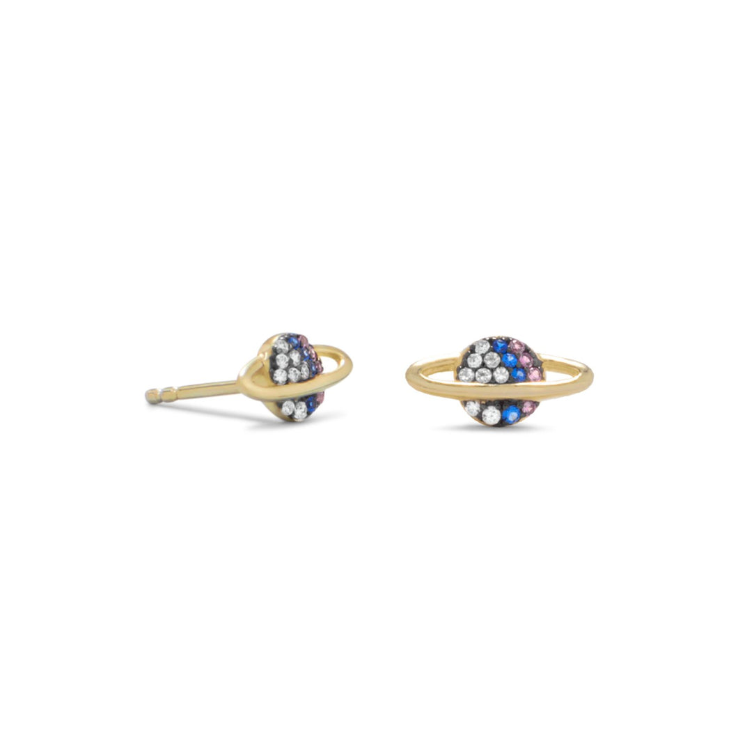 14-Karat Gold Plated Mini CZ Planet Studs