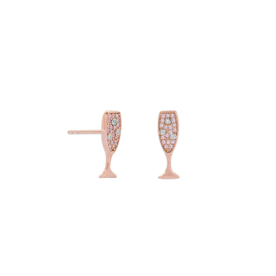14-Karat Rose Gold Plated CZ Champagne Glass Stud Earrings