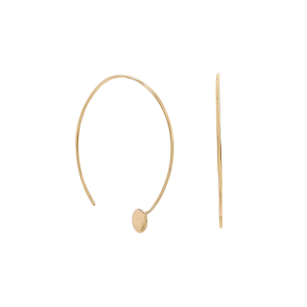 14-Karat Gold Plated Threader Dot End Earring