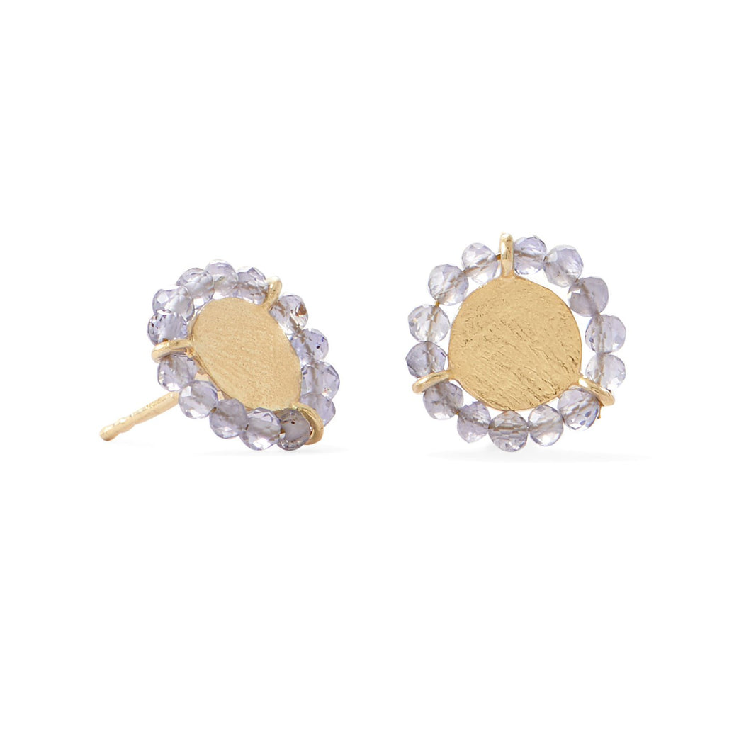 14-Karat Gold Plated Bead Edge Post Earrings