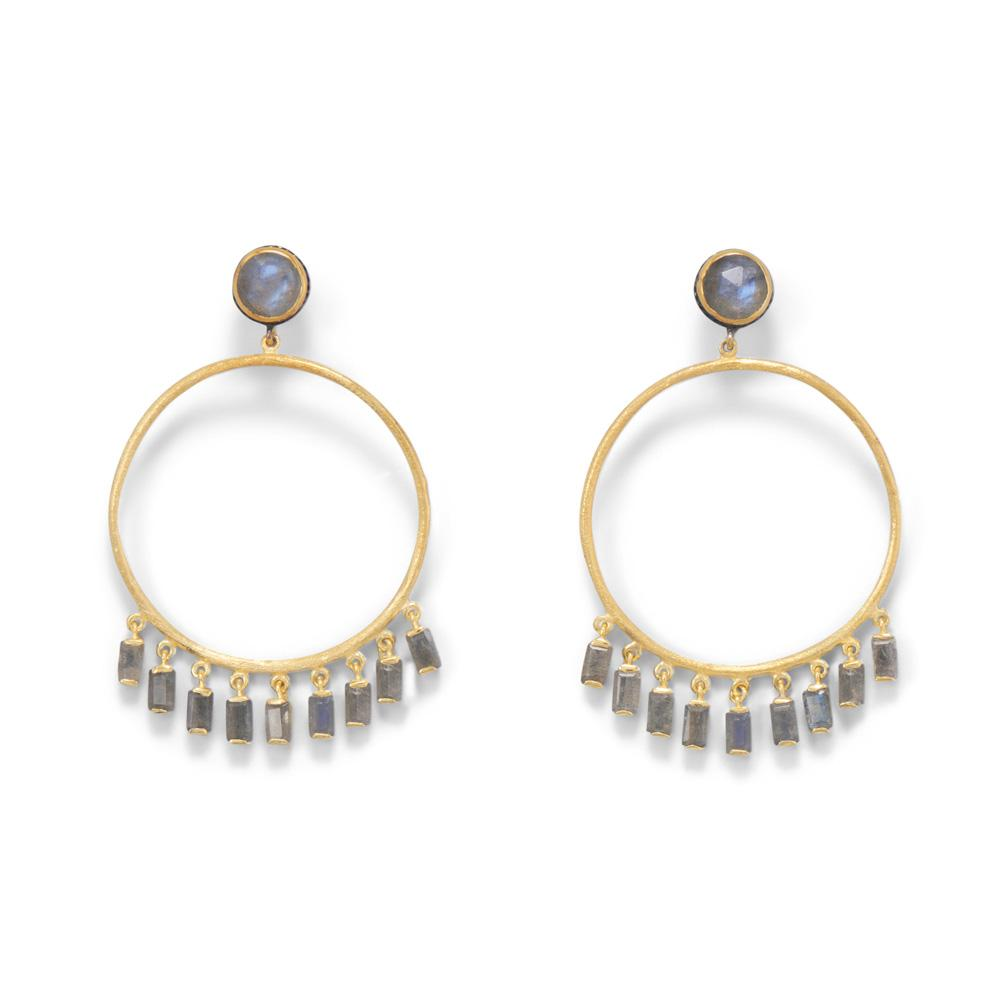 14-Karat Gold Plated Post Hoop Earrings with Dangling Labradorite
