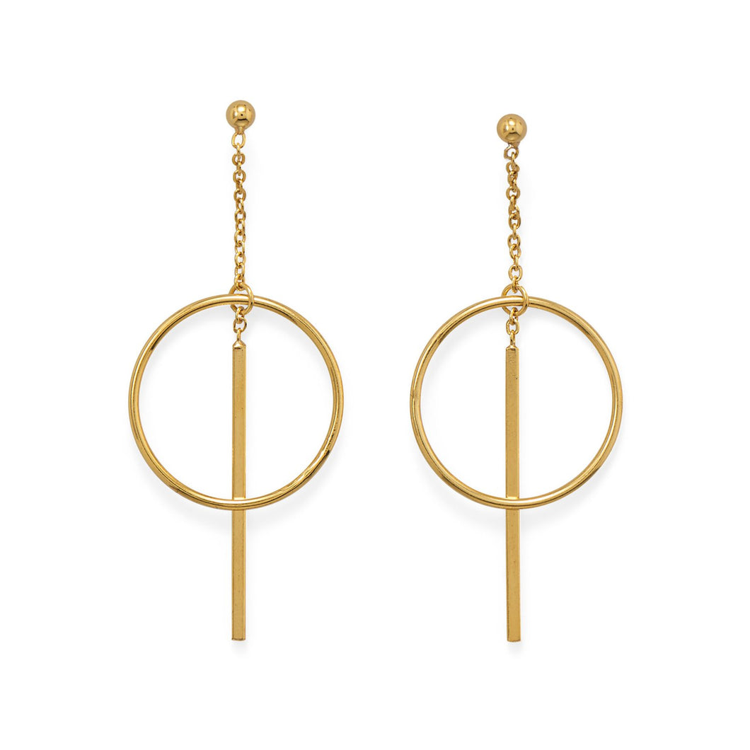 14-Karat Gold Plated Long Bar w/Circle Post Earrings