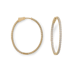 14-Karat Gold Plated Oval In/Out CZ Hoop Earrings