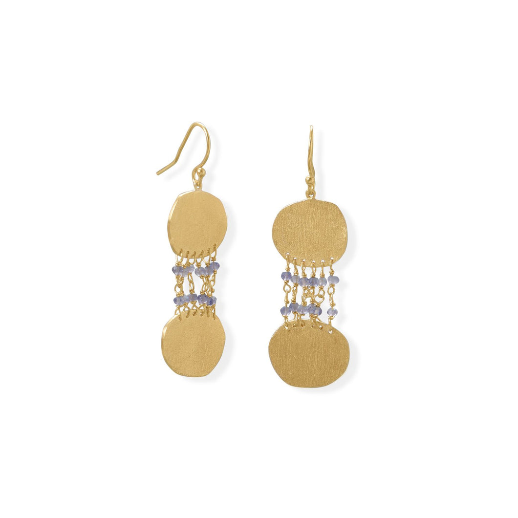 14-Karat Gold Plated Iolite and Textured Disk Earring