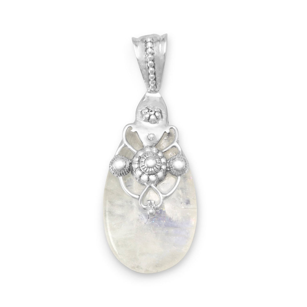 Ornate Rainbow Moonstone Pendant