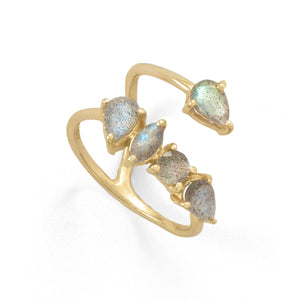 14-Karat Gold Plated Labradorite Unique Wrap Ring