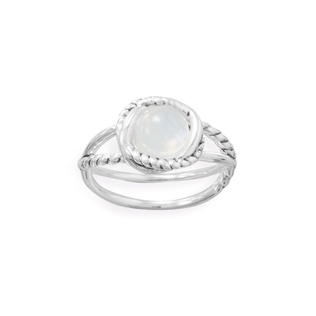 Criss Cross Band Rainbow Moonstone Ring