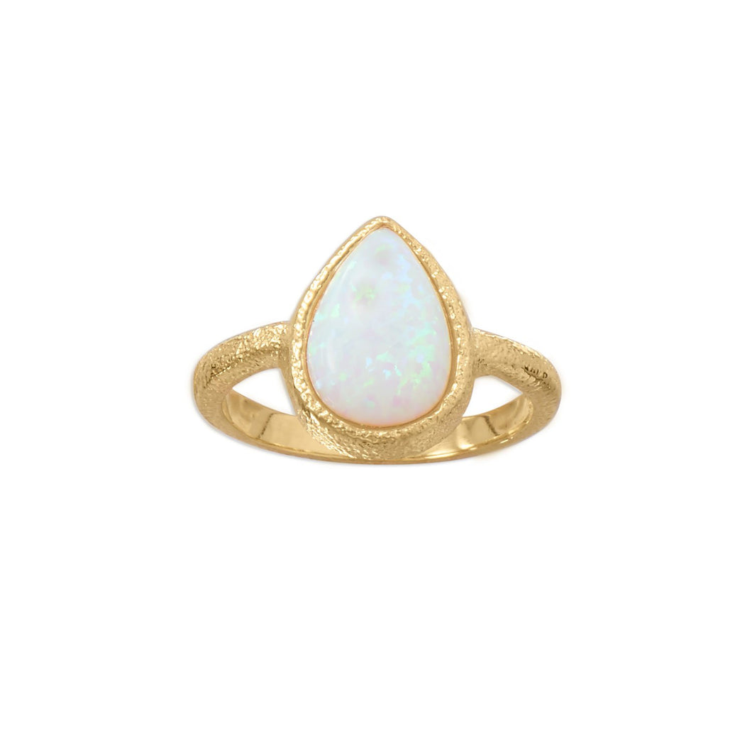 14-Karat Gold Plated Textured Pear  Opal Ring
