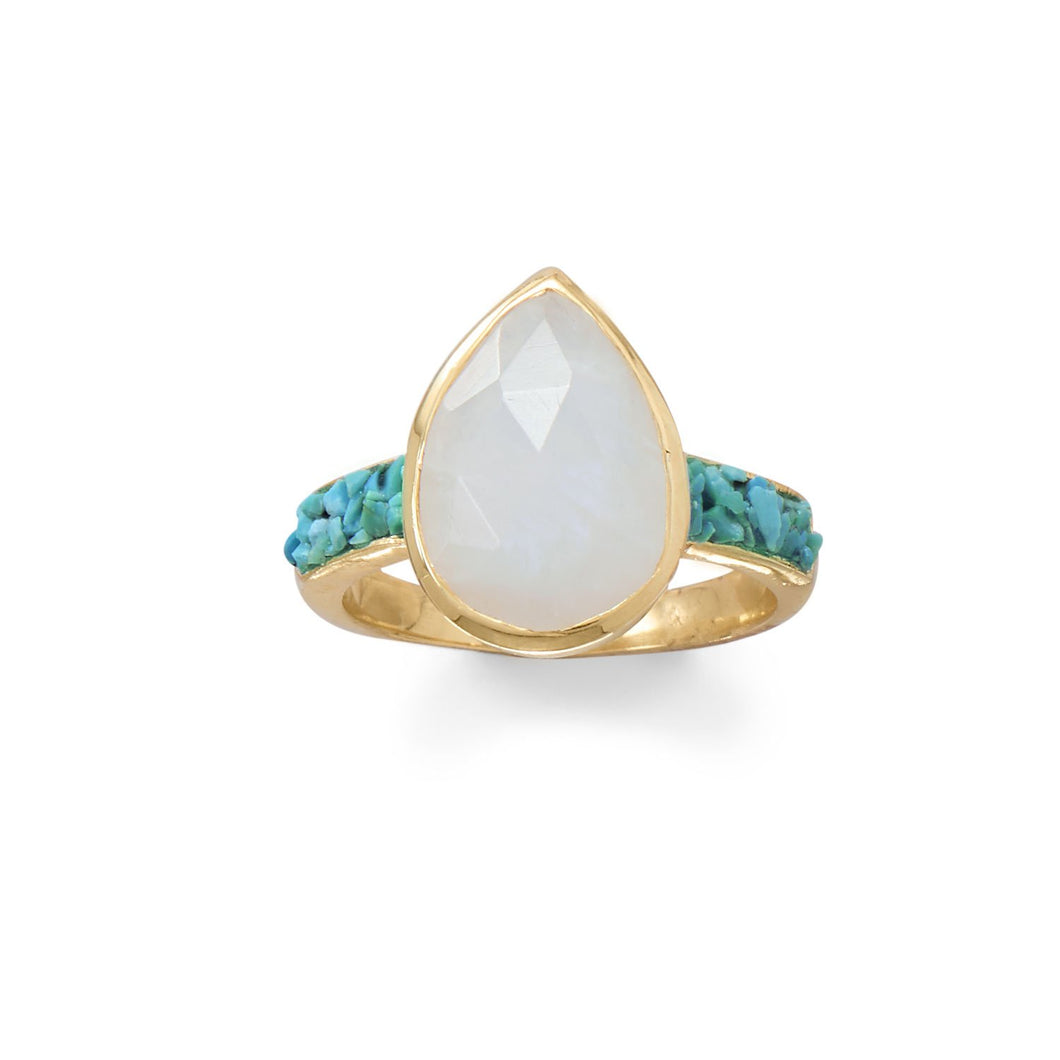 14-Karat Gold Plated Rainbow Moonstone and Crushed Turquoise Ring