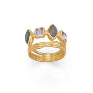 14-Karat Gold Plated Labradorite and Glass Ring