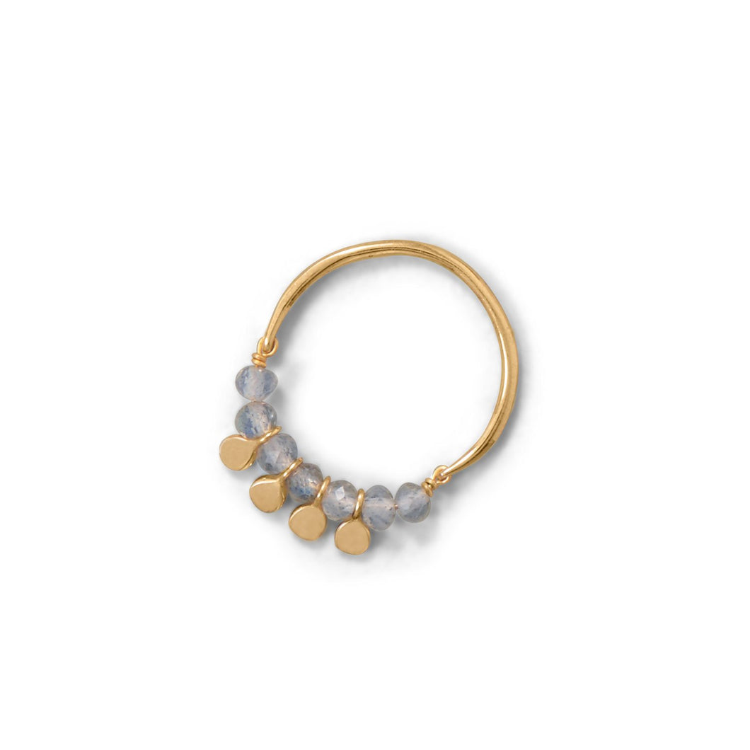 14-Karat Gold Plated Labradorite Bead and Disk Ring