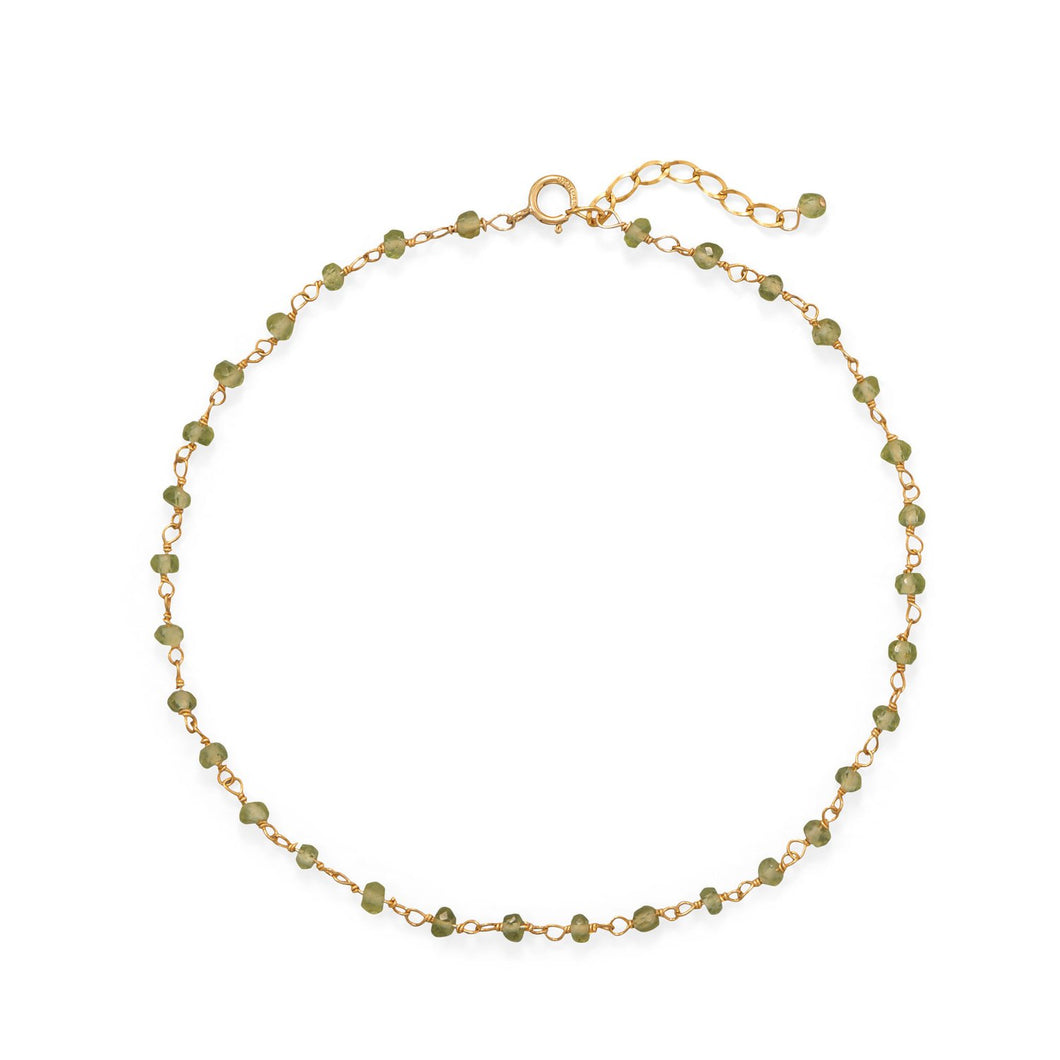 Fresh Look! Peridot 14-Karat Gold Plated Anklet