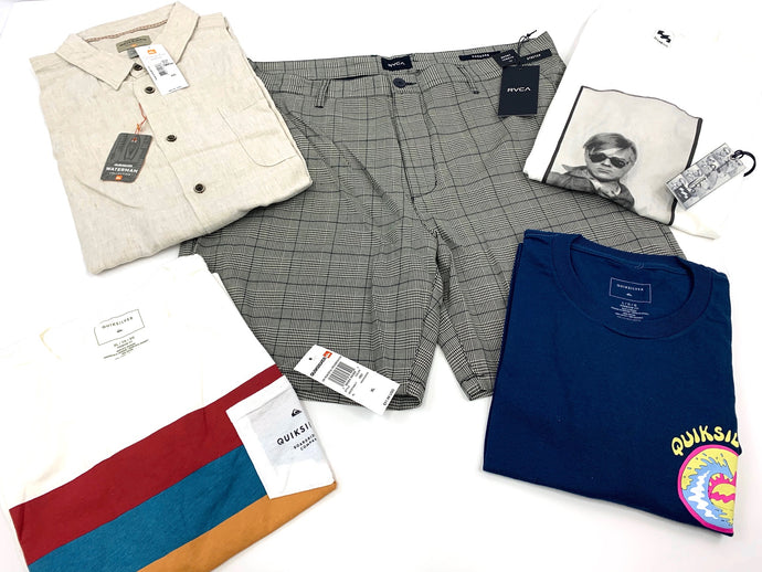 Popular Name Brands - Surf & Skate Mix | MEN'S Assorted Bundle | 5 Piece Min.