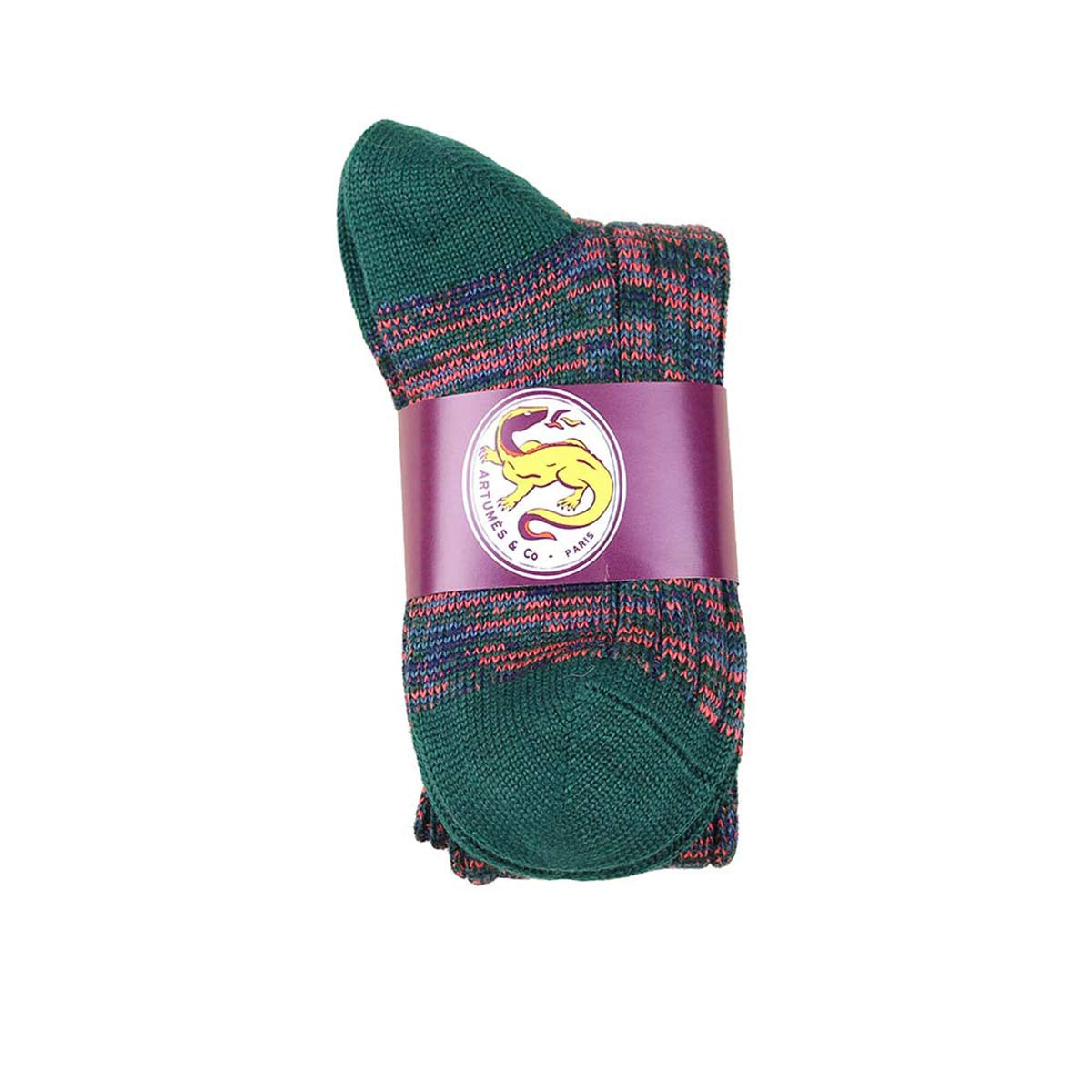 Chaussettes Galloway longues marine vert saumon