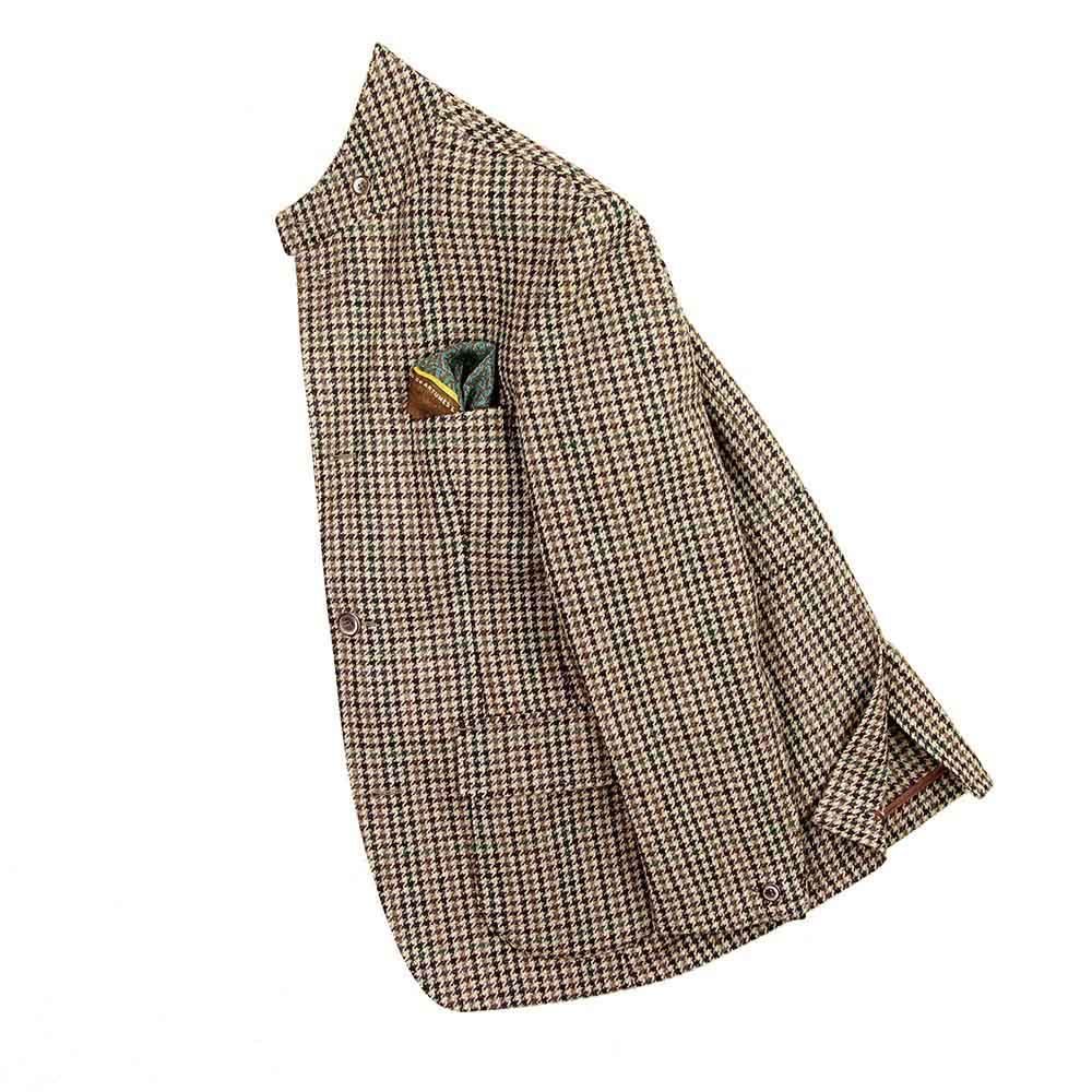 Veste Beaumont tweed gun check marron beige vert