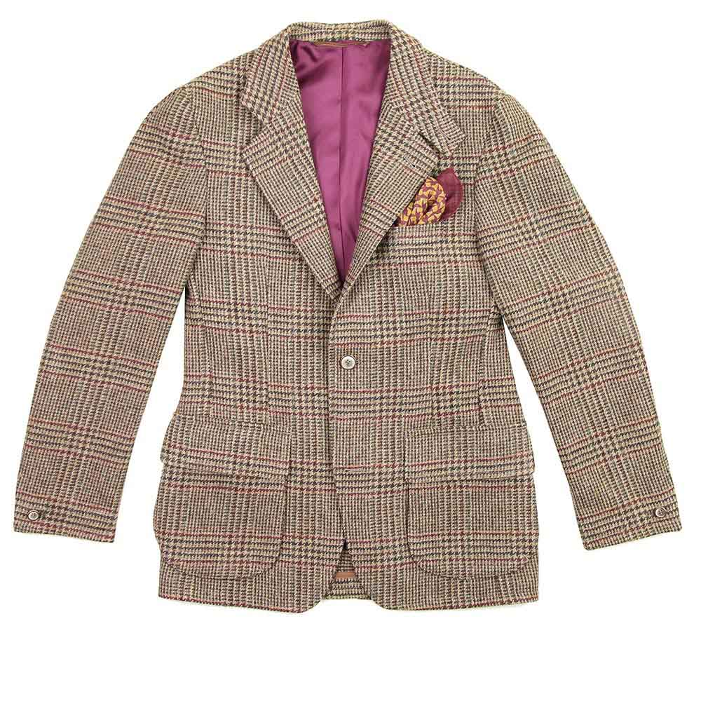 Veste Beaumont tweed glen check marron vert rouge