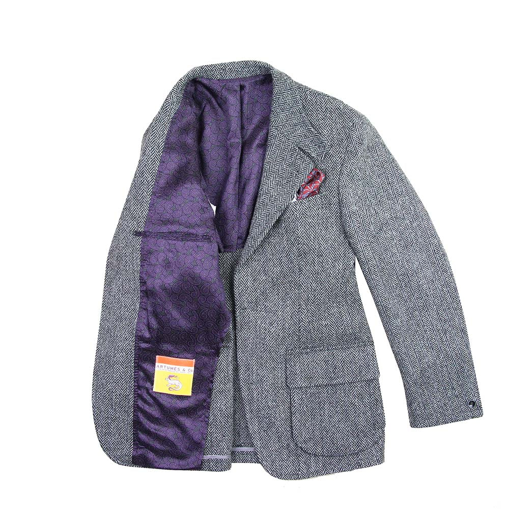 Veste Beaumont tweed Harris chevrons gris