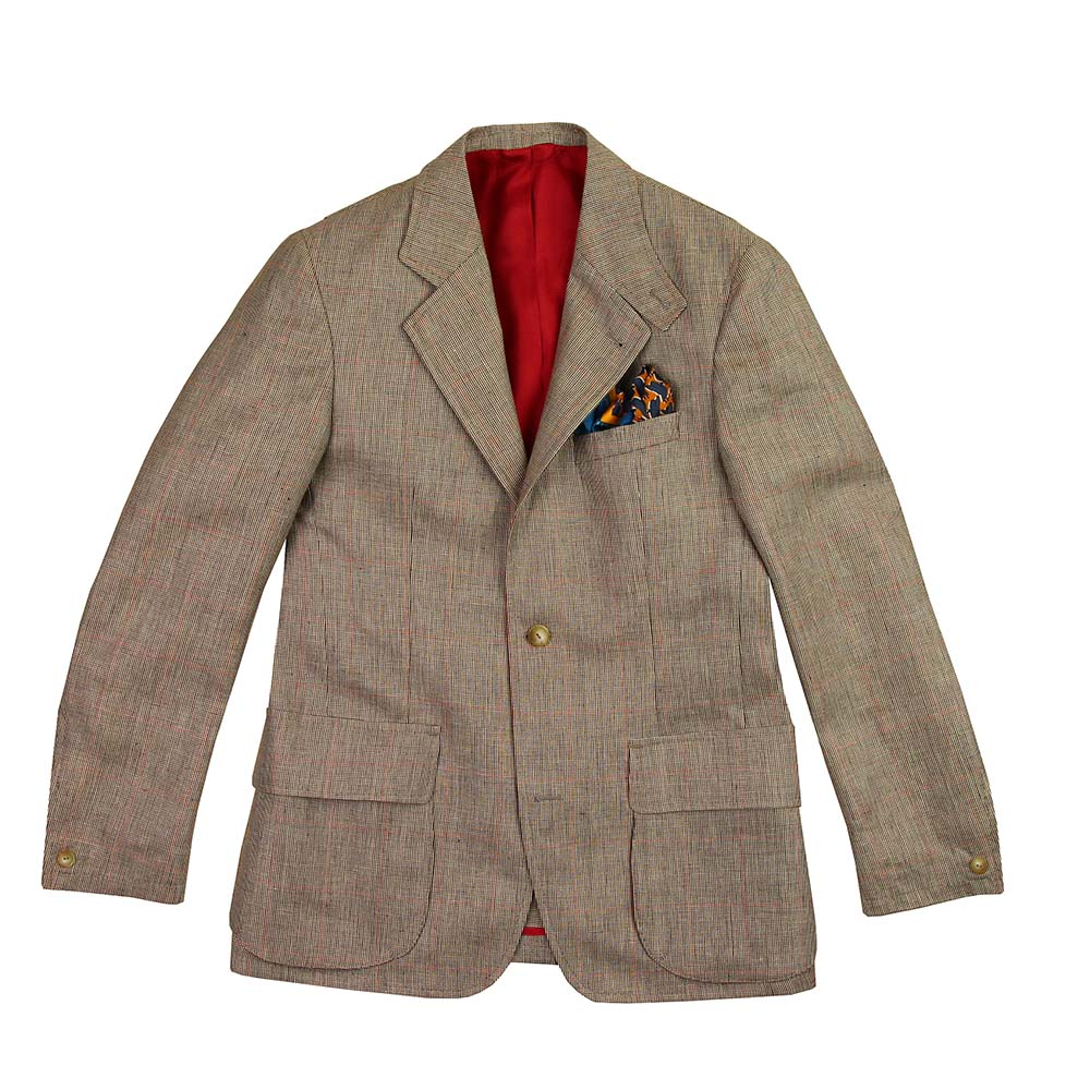 Veste Beaumont lin et laine birdseye brun carreaux rouges